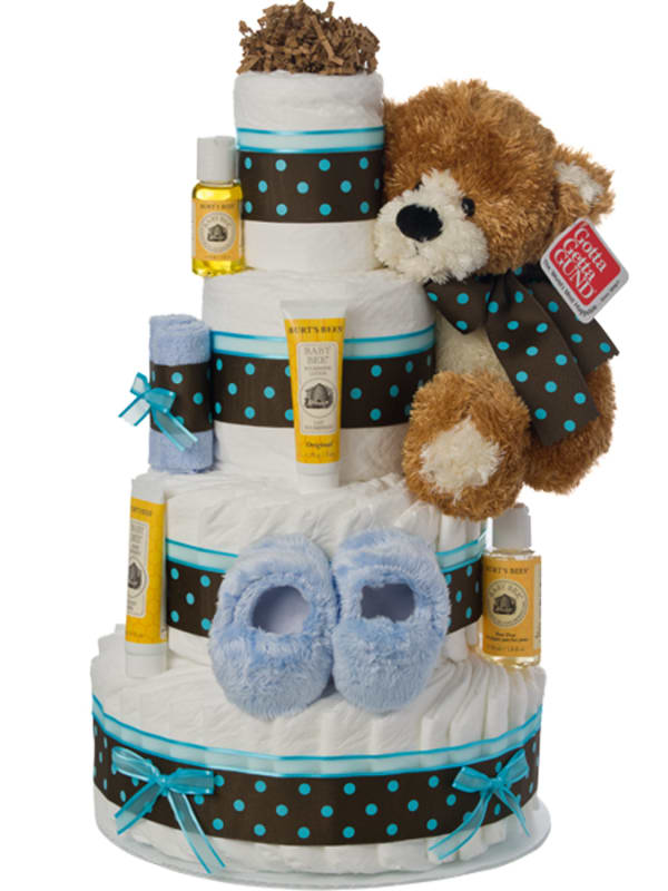 4 Tier Teal Blue Contemporary Diaper Cake