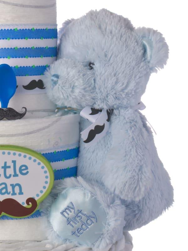 Little Man Mustache 3 Tier Diaper Cake