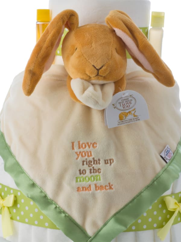 Love You to the Moon Neutral Baby Shower Diaper Cake