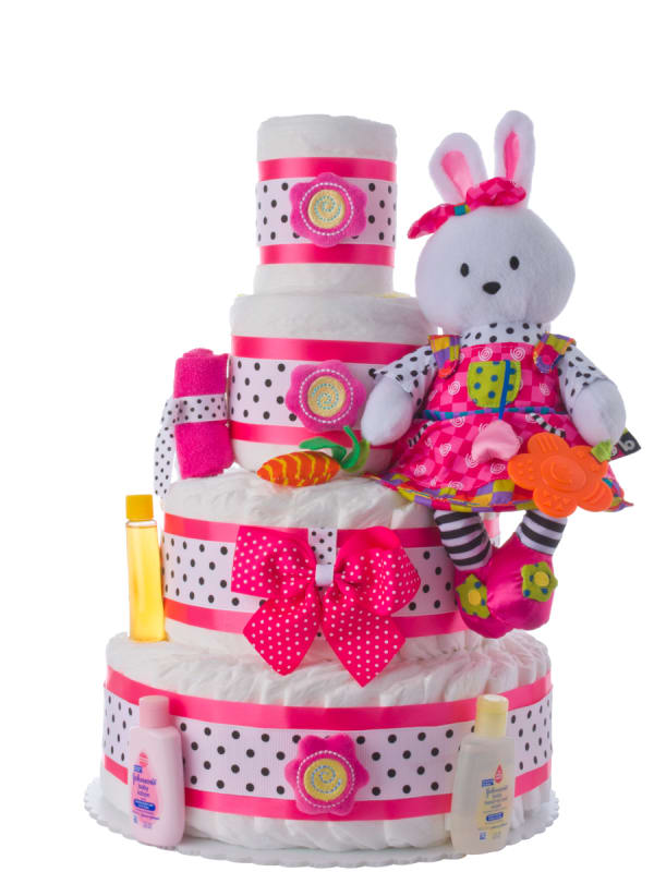 Teach Me Bunny Diaper Cake for Girls