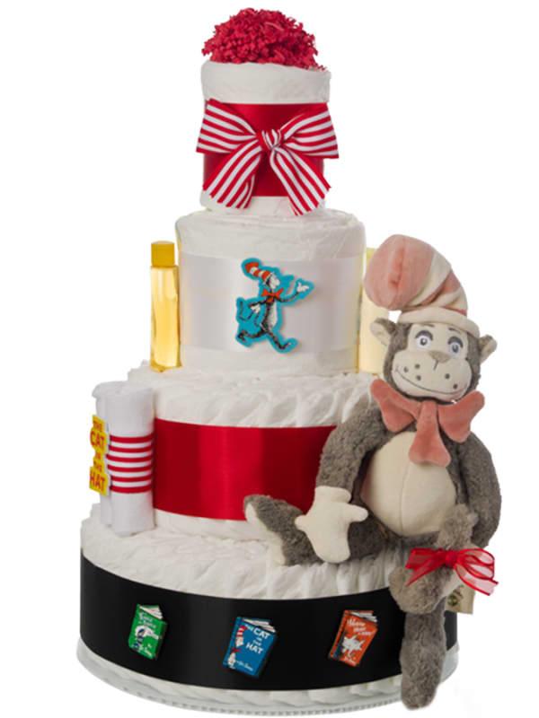 Dr Seuss Cat In The Hat 4 Tier Diaper Cake