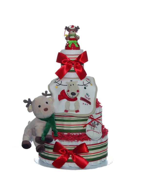 Christmas Reindeer 4 Tier Diaper Cake