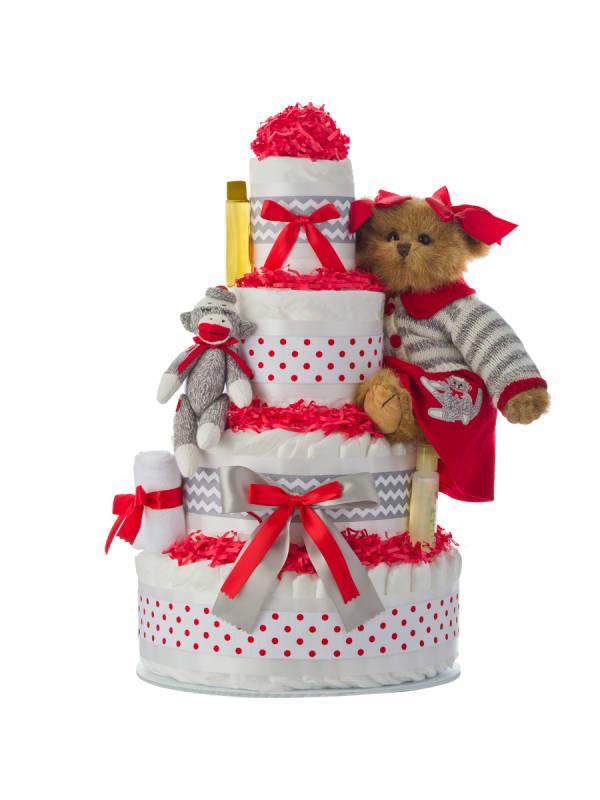 Cindy Socks Holiday 4 Tier Diaper Cake