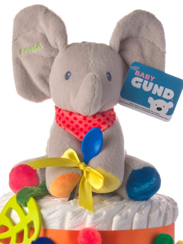 Flappy the Elephant Circus Neutral Diaper Cake
