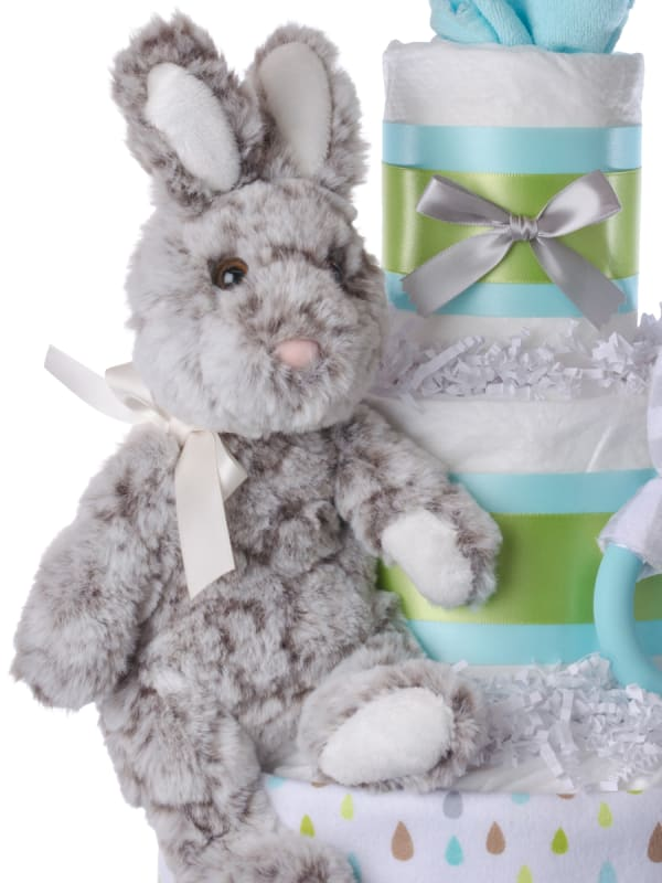 Hopscotch Bunny Neutral Diaper Cake