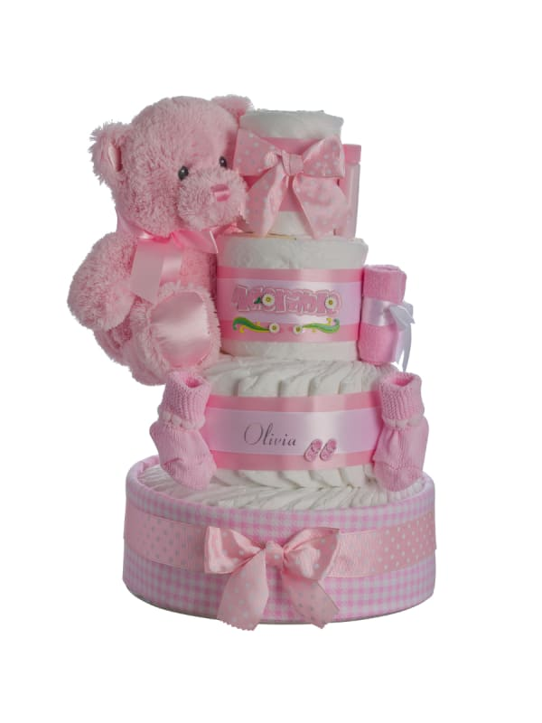 Adorable Girl Personalized 4 Tier Diaper Cake