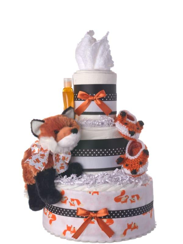 Fun Fox Neutral Baby Diaper Cake