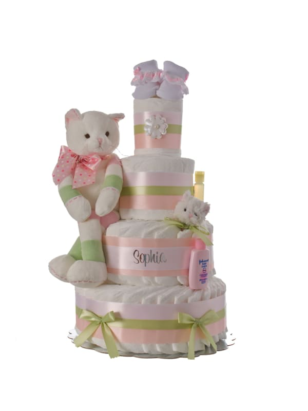 Kitty Cat Personalized Diaper Cake
