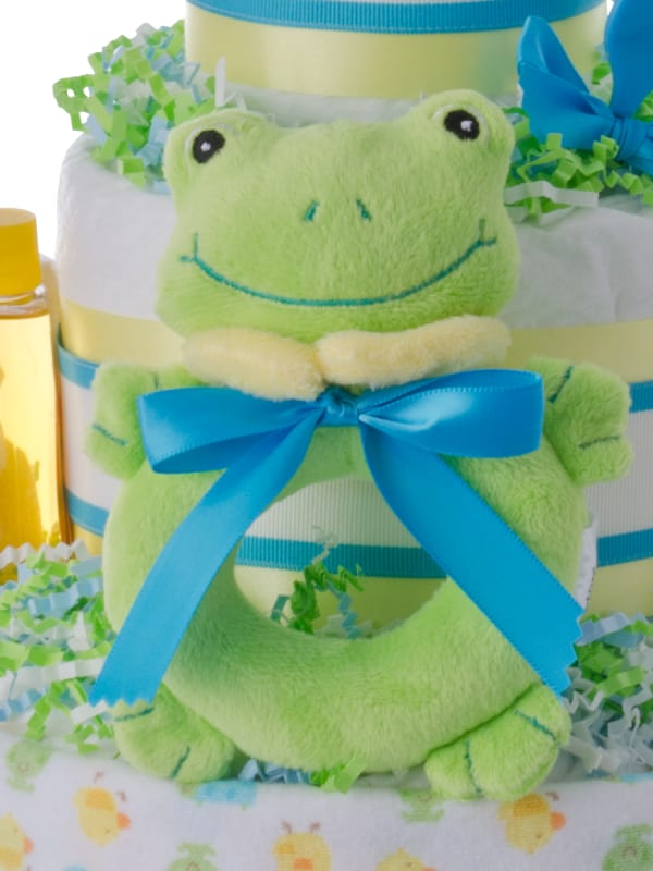 Lil Ribbit Green Frog Baby Diaper Cake