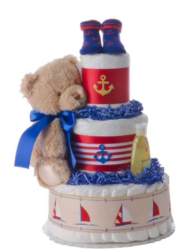 Nautical Baby 3 Tier Diaper Cake