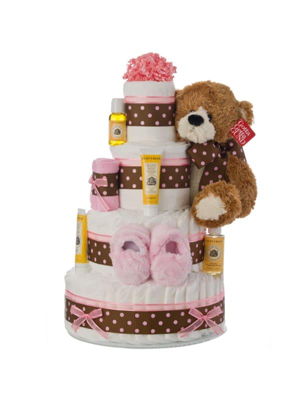 4 Tier Pink Contemporary Diaper Cake