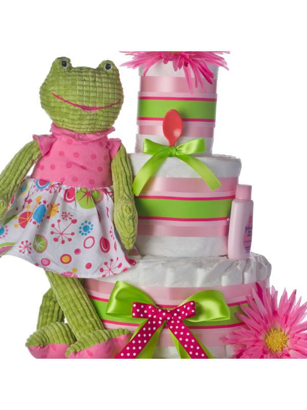 Pink Frog 4 Tier Baby Diaper Cake