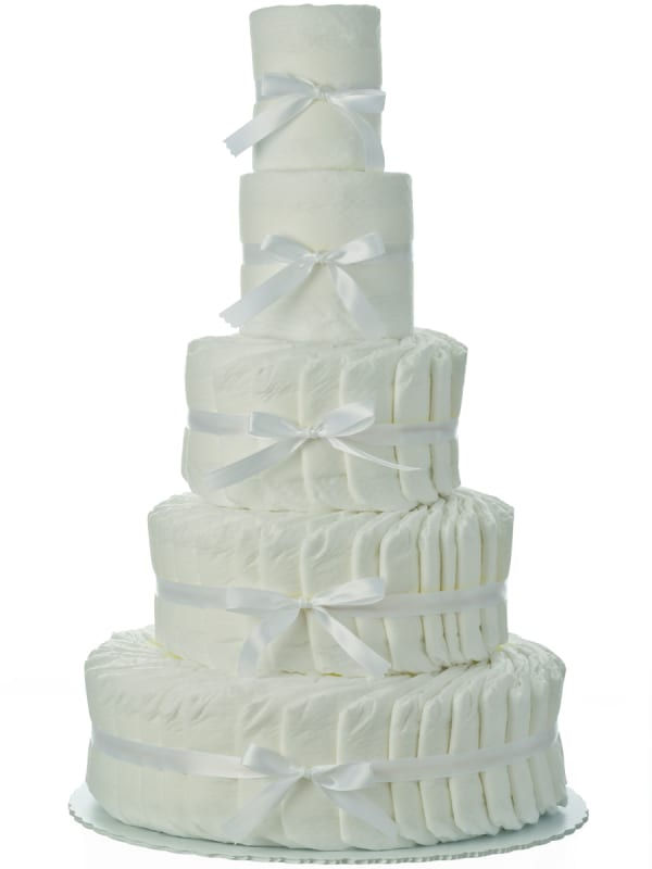 Plain White 5 Tier Diaper Cake