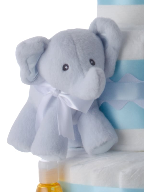 Blue Baby Elephant Twins Diaper Cake for Boys