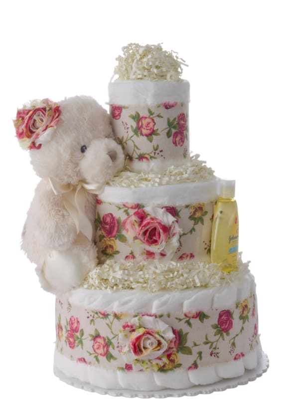 Rosy Bear Diaper Cake for Girls