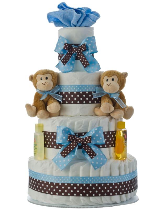 Twin Boys Monkey 4 Tier Diaper Cake