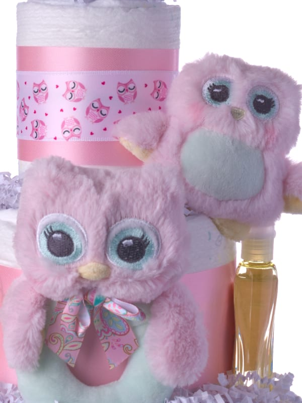 Two Owls Baby Diaper Cake