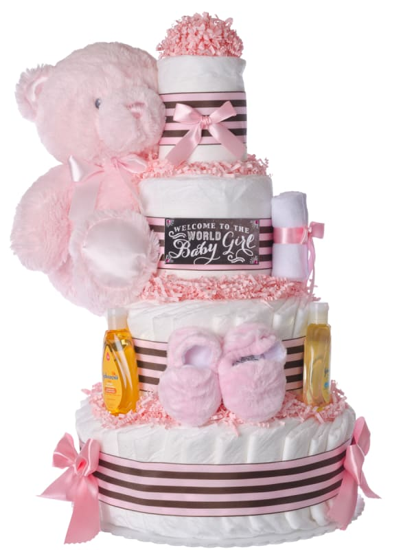 Welcome World Baby Girl Diaper Cake