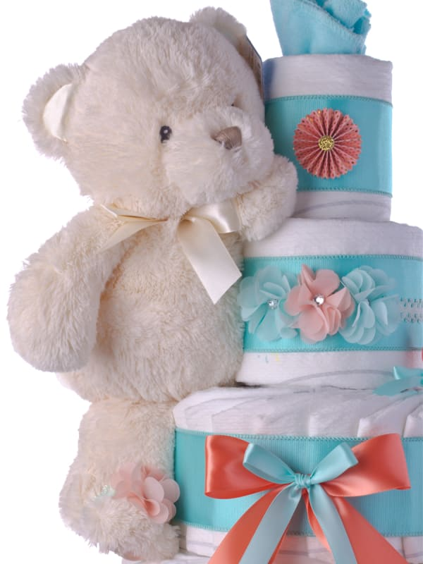 Springtime Bear Baby Diaper Cake for Girls