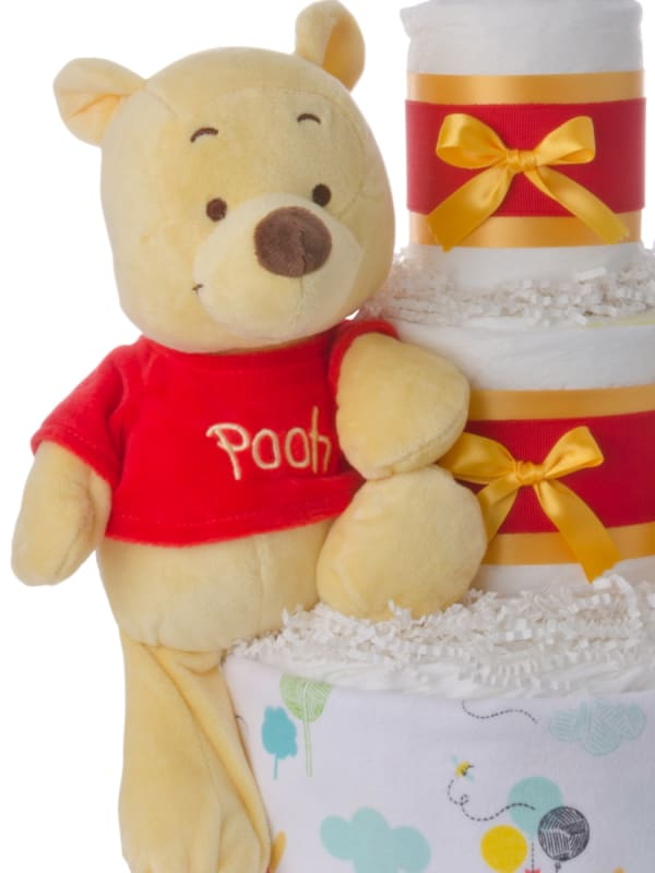 Winnie the Pooh Red Shirt Neutral Diaper Cake