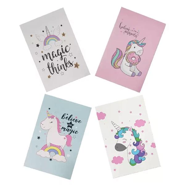 Unicorn Print Cover Notebook (Set of 4)