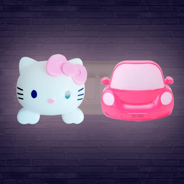 Home Decor Hello Kitty and Car Night Lamp- Pack of 2