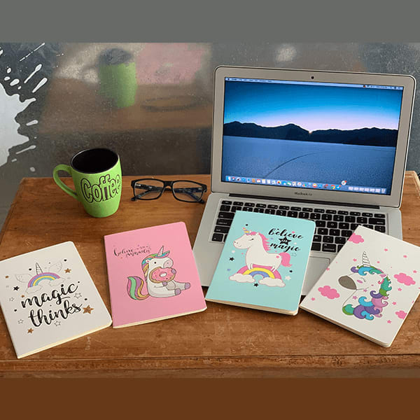 Unicorn Print Cover Notebook /Diary /Journal (Set of 4)