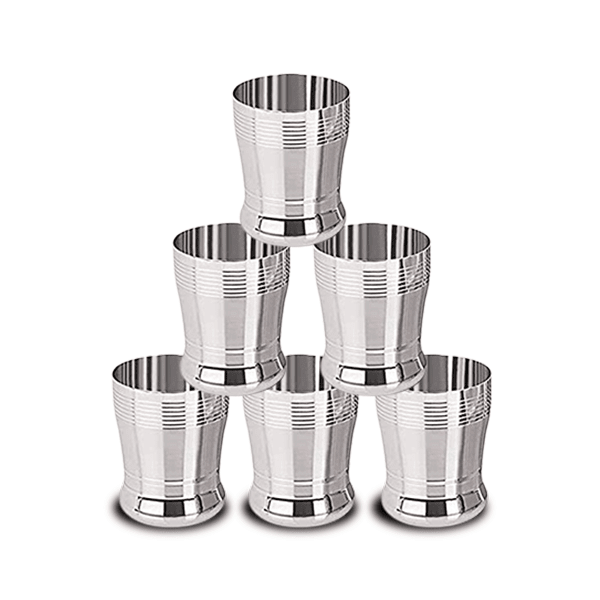 Stainless Steel Silver Glass (Pack of 6)