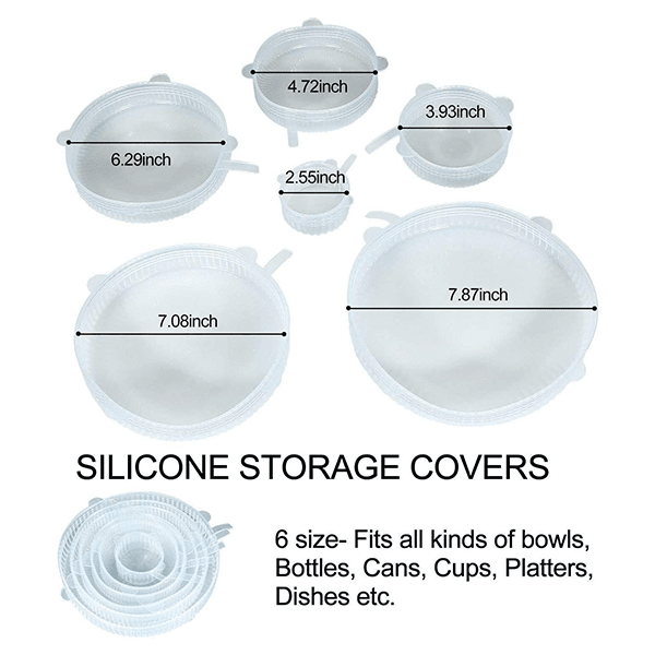 Multisize Reuasable Silicone lids for containers- (set of 6)