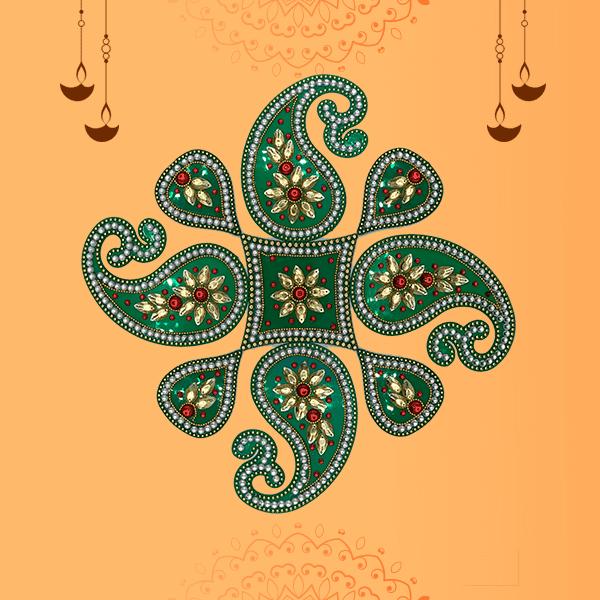 9 Piece Acrylic Paisley Shape Stone Studded Rangoli Diwali Floor Decorations (Assorted Colours)