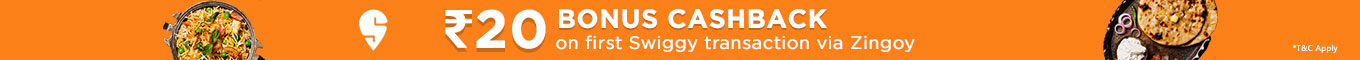 20 Bonus Cashback on first swiggy transaction