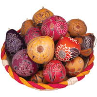 Example basket of our flower mix gourd ornaments. Assortment and color varies.