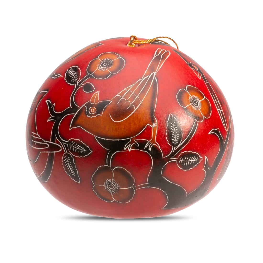 Cardinals on a Branch - Large Gourd Ornament