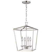 Dianna Four Light Small Lantern Brushed Nickel Bulbs Inc
