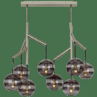 Sedona Double Chandelier Double Transparent Smoke Satin Nickel 2700K 90 CRI t14 LED 90 CRI 2700k 120v (T20/T24)