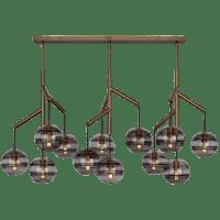 Sedona Triple Chandelier Triple Transparent Smoke Aged Brass 2700K 90 CRI t14 LED 90 CRI 2700k 120v (T20/T24)