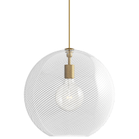 Palestra Large Pendant Opal/Clear Natural Brass no lamp