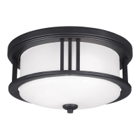 Crowell Two Light Outdoor Flush Mount Black Bulbs Inc