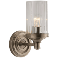 Ava Single Sconce in Antique Nickel with Crystal