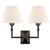 Jane Double Sconce in Gun Metal with Linen Shade