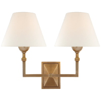 Jane Double Sconce in Hand-Rubbed Antique Brass with Linen Shade