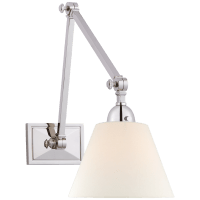 Jane Double Library Wall Light in Polished Nickel with Linen Shade