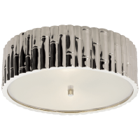 Frank Large Flush Mount in Polished Nickel with Frosted Glass