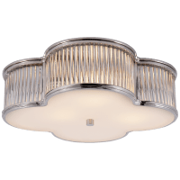 """Basil 17"""" Flush Mount in Polished Nickel and Clear Glass Rods with Frosted Glass"""