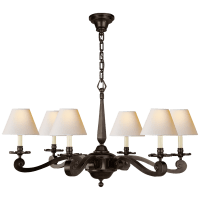 Myrna Chandelier in Gun Metal with Natural Paper Shades