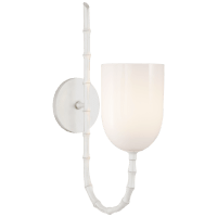 Edgemere Wall Light in Plaster White with White Glass