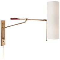 Frankfort Articulating Wall Light in Hand-Rubbed Antique Brass and Mahogany Accents with Linen Shade