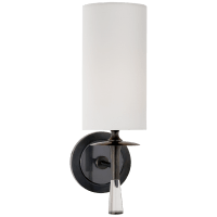 Drunmore Single Sconce in Bronze and Crystal with Linen Shade