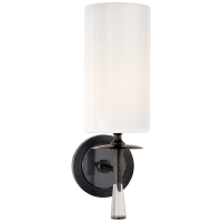 Drunmore Single Sconce in Bronze and Crystal with White Glass Shade
