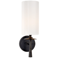 Drunmore Single Sconce in Bronze with White Glass Shade